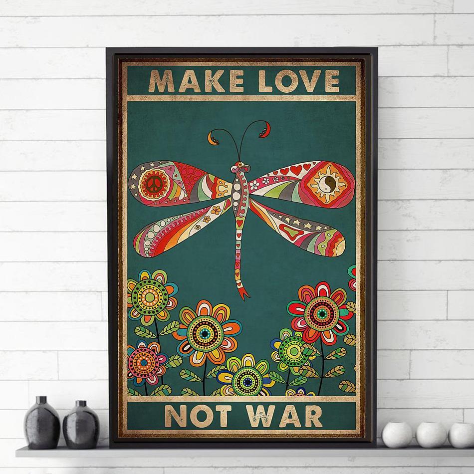 Dragonfly make love not war poster