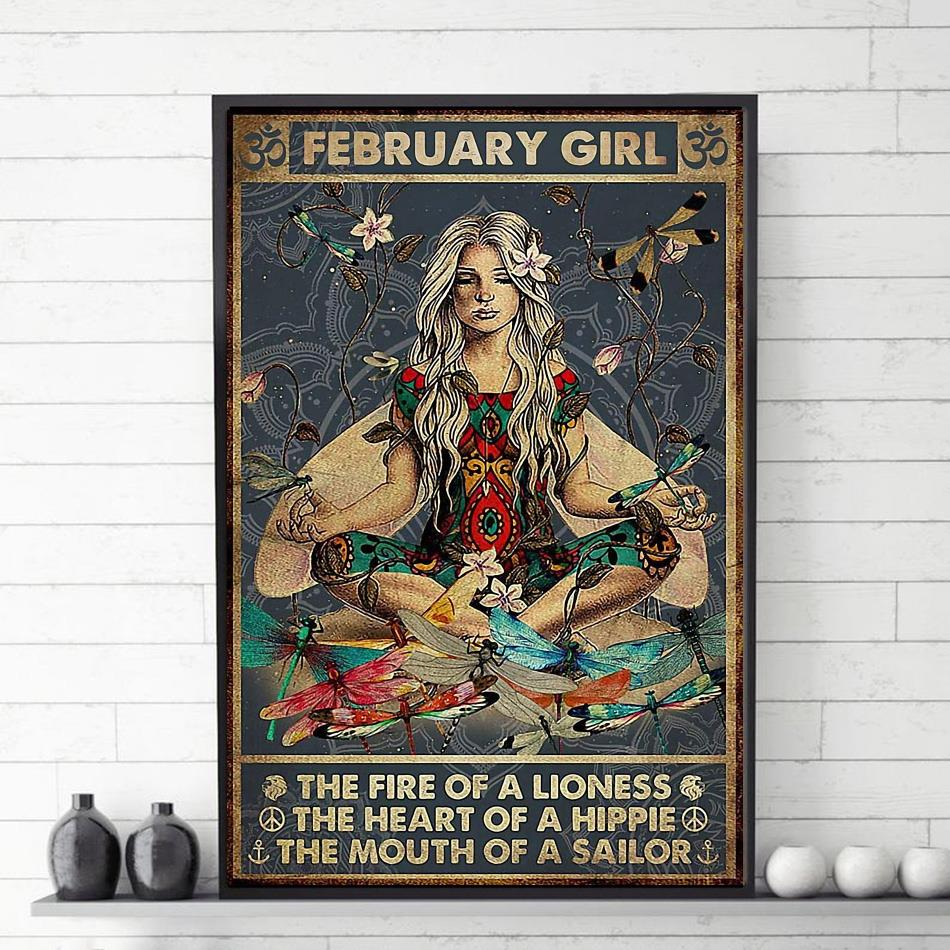 February girl the fire of a lioness the heart of a hippie poster canvas
