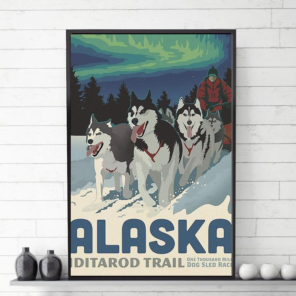 Gearsly alaska iditarod trail one thousand dog sled race poster