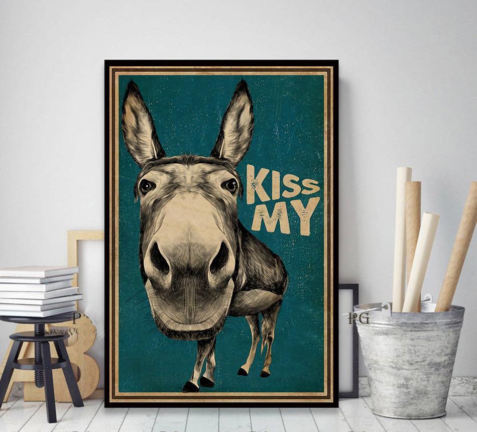 Kiss My Donkey poster canvas decor art