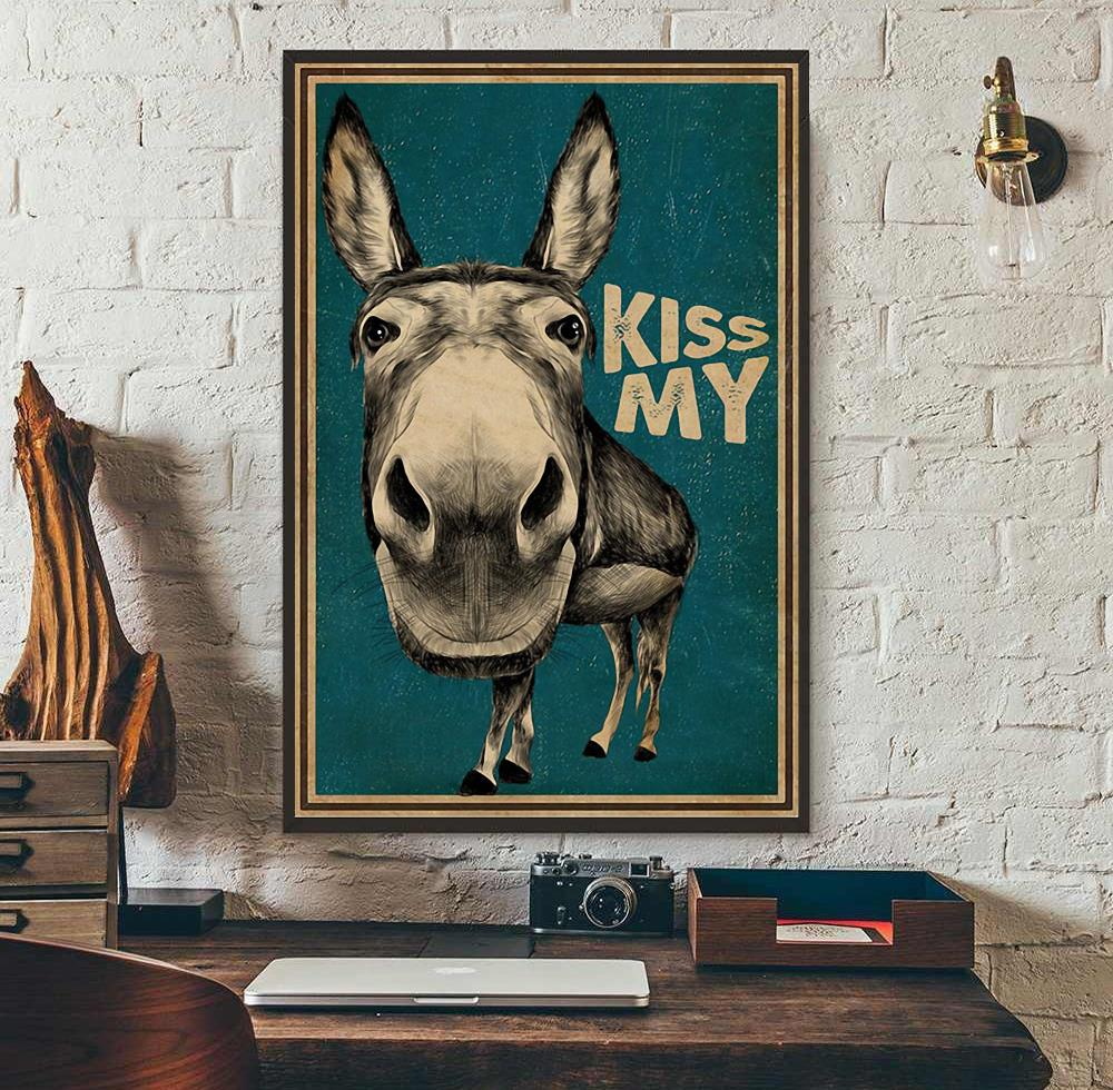 Kiss My Donkey poster canvas wall art