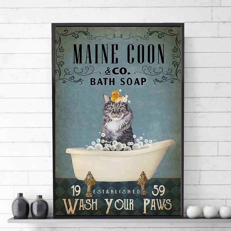 Maine coon bath soap wash your paws canvas