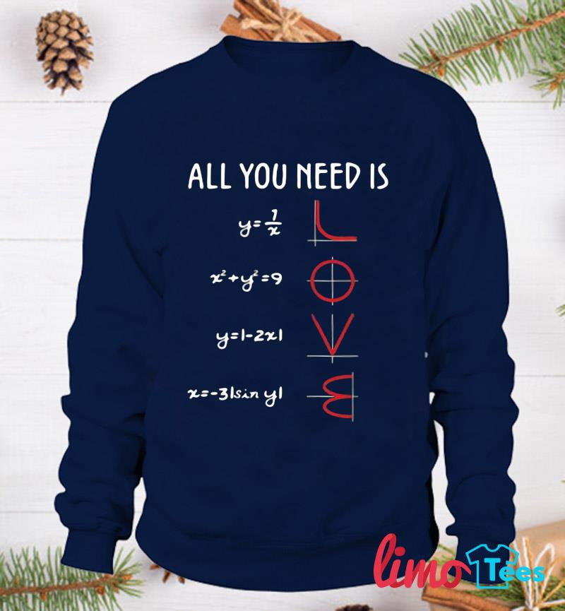 Mathematics equation all you need is love t-s sweatshirt
