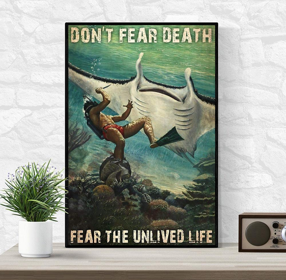 Mobula mobular don't fear death fear the unlived life poster wrapped canvas