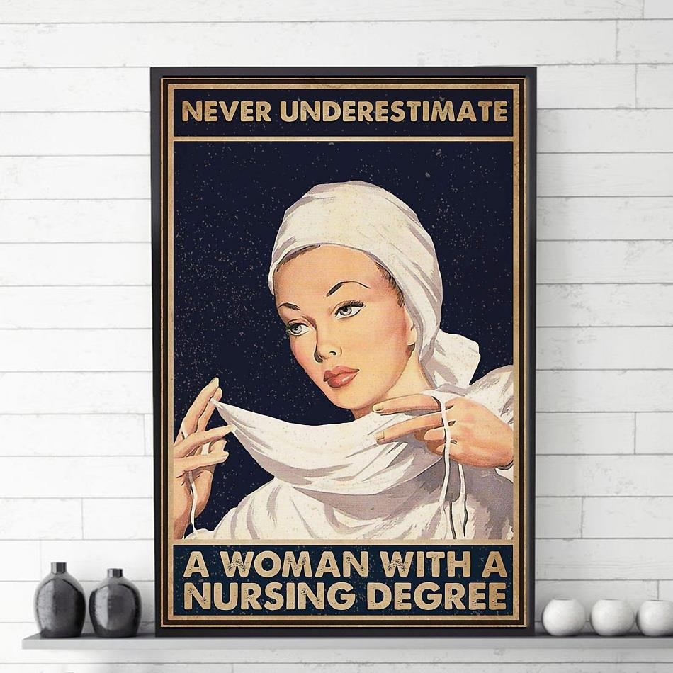 Never underestimate a woman with a nursing degree poster canvas