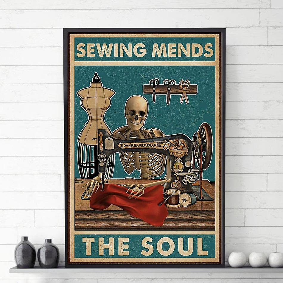 Sewing mends the soul skeleton poster canvas