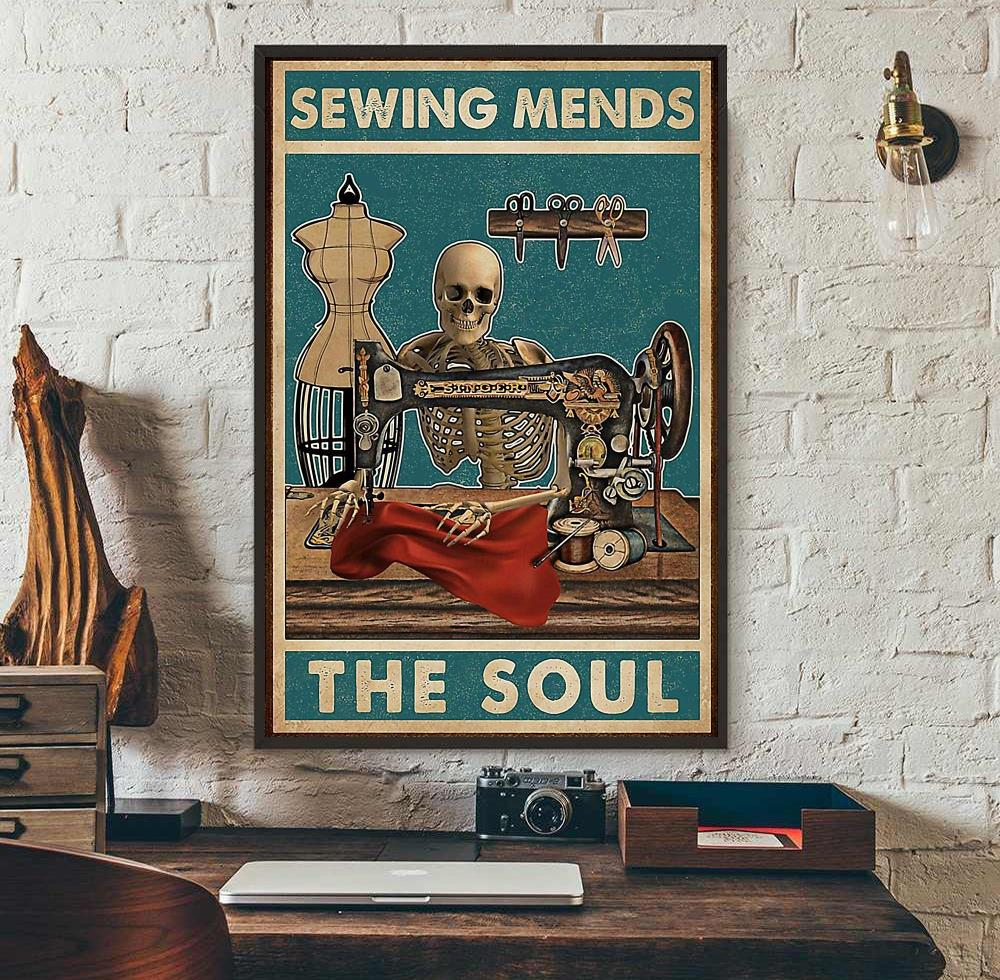 Sewing mends the soul skeleton poster canvas wall art