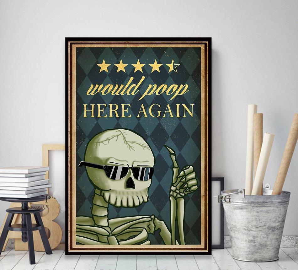 Skeleton would poop here again poster decor art