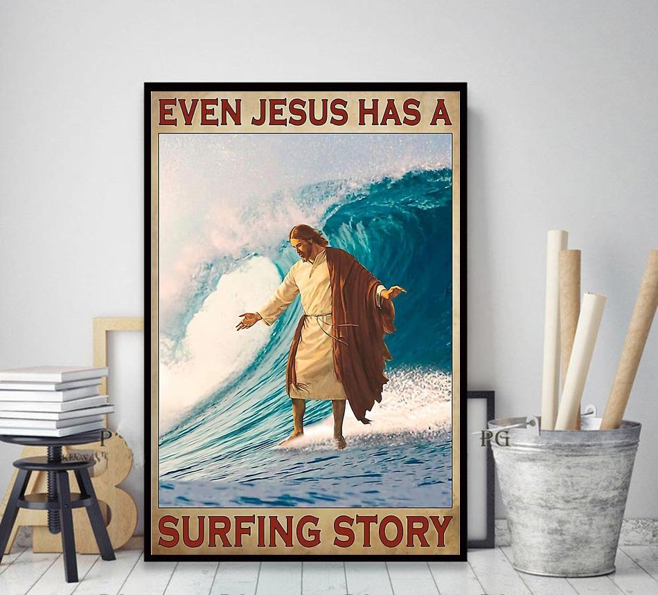 Surfing even Jesus has a surfing story poster decor art