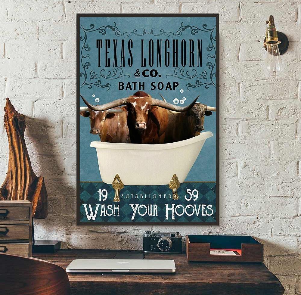 Texas Longhorn Bath Soap wash your hooves canvas wall art