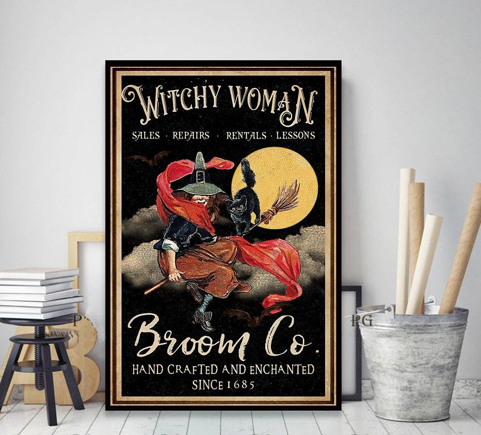 Witchy Woman broom vertical canvas decor art