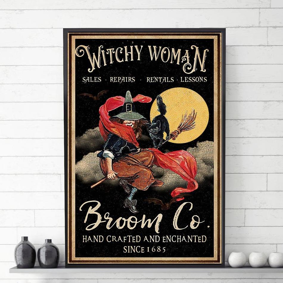 Witchy Woman broom vertical canvas